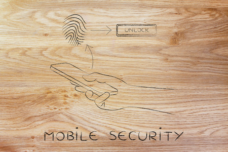security technology: mobile security: smartphone user unlocking his mobile with fingerprint technology Stock Photo