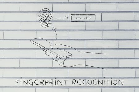 reconocimiento: fingerprint recognition on smartphone, user touching the screen to unlock