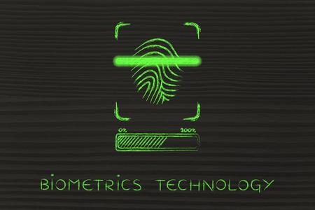 La tecnología biométrica: huella digital de exploración en curso, con efecto de brillo y la barra de carga Foto de archivo
