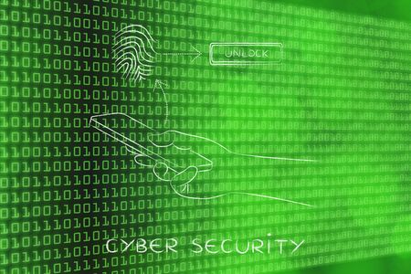security technology: cyber security: smartphone user unlocking his mobile with fingerprint technology Stock Photo