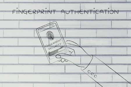 authentication: fingerprint authentication on mobile screen and user hand holding smartphone Stock Photo