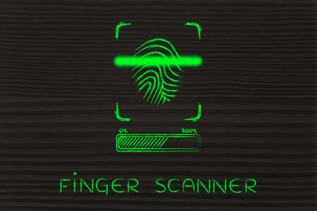 finger proof: finger scanner: scan in progress, with glow effect and loading bar