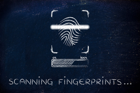 finger proof: scanning fingerprints: scan in progress, with glow effect and loading bar