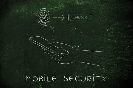 reconocimiento: seguridad m�vil: usuario del smartphone desbloquear su m�vil con tecnolog�a de huella digital