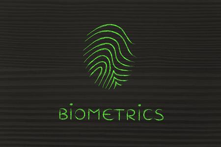 biometrics: biometrics, fingerprint technology minimalist chalk icon