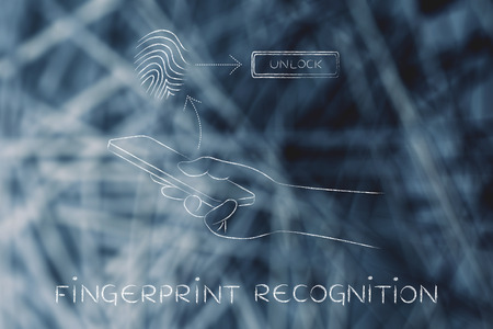 recognition: fingerprint recognition on smartphone, user touching the screen to unlock