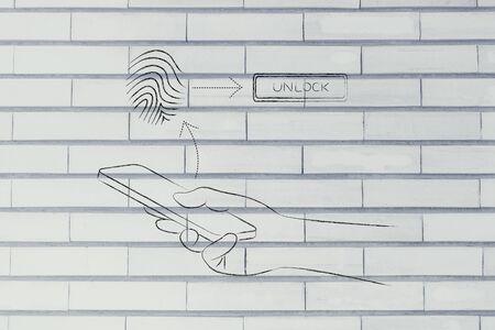 unlocking: smartphone user unlocking his mobile with fingerprint technology