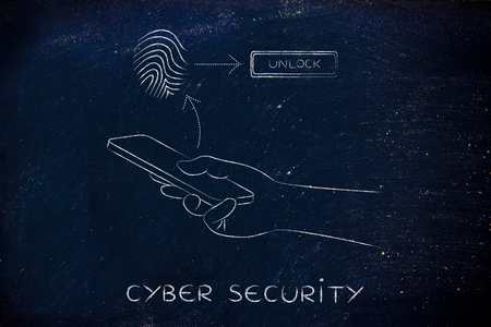 unlocking: cyber security: smartphone user unlocking his mobile with fingerprint technology Stock Photo