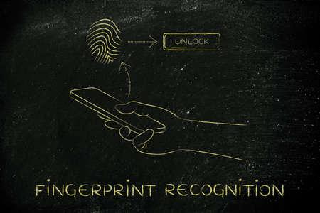 reconocimiento: reconocimiento de huellas dactilares en el tel�fono inteligente, el usuario toca la pantalla para desbloquear Foto de archivo