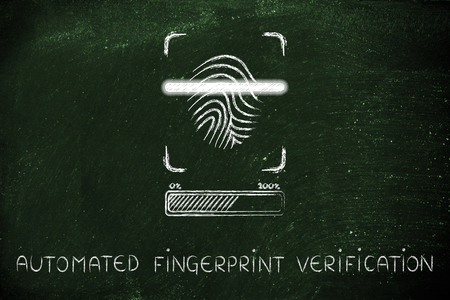 finger proof: automated fingerprint verification: scan in progress, with glow effect and loading bar