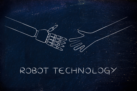 robot technology: human and robot hands about to touch