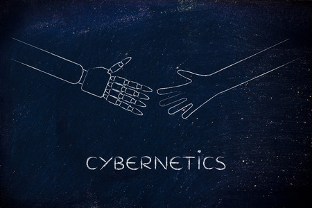cybernetics: human and robot hands about to touch