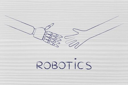 artificial: robotics: human and robot hands about to touch