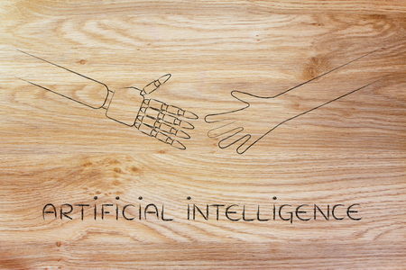 artificial intelligence: artificial intelligence: human and robot hands about to touch