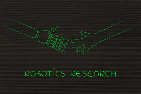 robotics research: human and robot hands about to touch Stock Photo