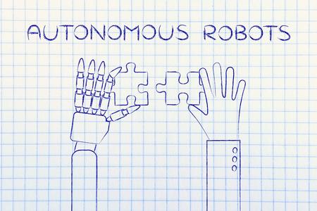 autonomous: autonomous robots: human and robot hands solving a puzzle Stock Photo