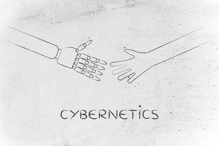 cybernetics: cybernetics: human and robot hands about to touch