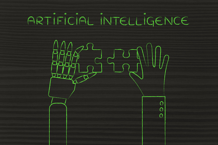 artificial intelligence: artificial intelligence: human and robot hands solving a puzzle Stock Photo
