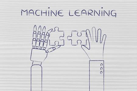 Apprentissage machine: des mains humaines et du robot de résolution d'un puzzle Banque d'images - 54117310