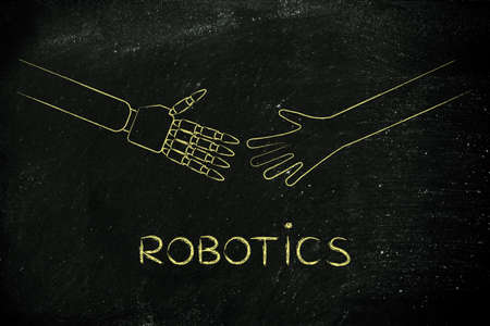 robotics: human and robot hands about to touch