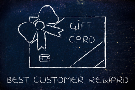 retailers: best customer reward: retailers gift card with wrapping bow Stock Photo