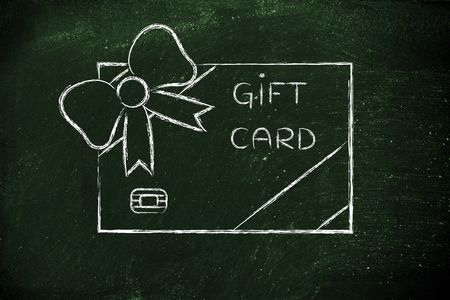 markdown: retailers gift card with wrapping bow, concept of rewarding clients and free giveaways