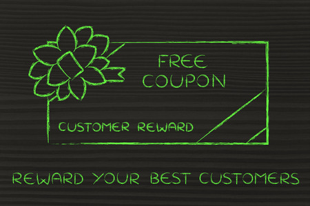 retailers: reward your best customers: retailers free coupon with wrapping bow Stock Photo