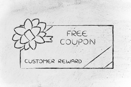 retailers: retailers free coupon with wrapping bow, concept of customer reward programs Stock Photo