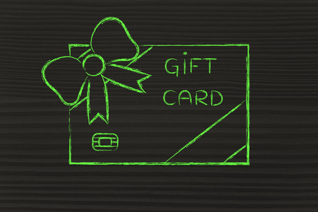 retailers: retailers gift card with wrapping bow, concept of rewarding clients and free giveaways