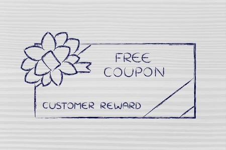 markdown: retailers free coupon with wrapping bow, concept of customer reward programs Stock Photo