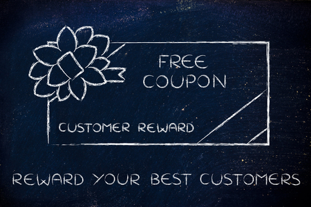 markdown: reward your best customers: retailers free coupon with wrapping bow Stock Photo