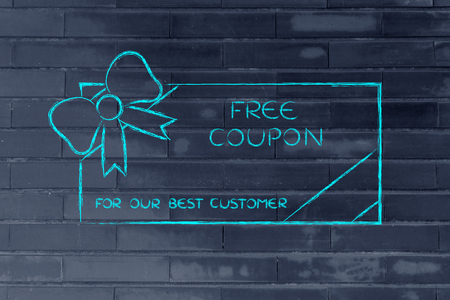 rewarding: retailers free coupon with wrapping bow, concept of rewarding the best customers