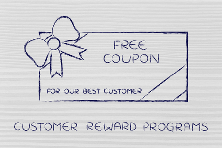 markdown: customer reward programs: retailers free coupon with wrapping bow Stock Photo