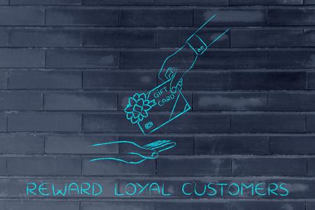 markdown: reward loyal customers: hand giving gift card with bow Stock Photo