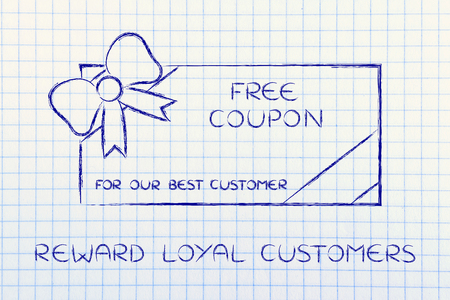 markdown: reward loyal customers: retailers free coupon with wrapping bow Stock Photo