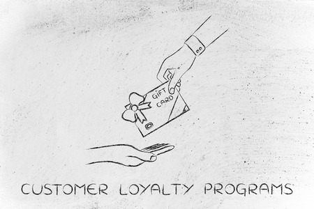 customer loyalty programs: hand giving gift card with wrapping bow