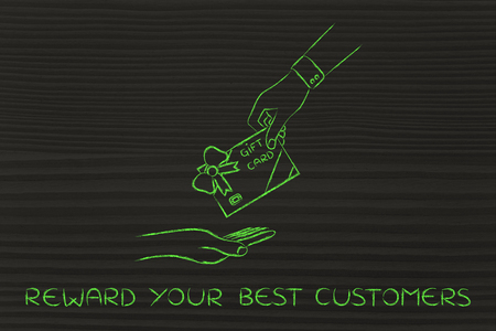 markdown: reward your best customers: hand giving gift card with wrapping bow