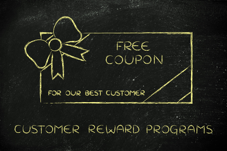 retailers: customer reward programs: retailers free coupon with wrapping bow Stock Photo