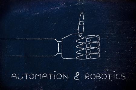 automation & robotics: robotic hands making thumbs up gesture