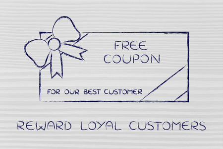 retailers: reward loyal customers: retailers free coupon with wrapping bow Stock Photo