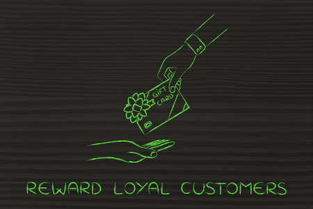 markdown: reward loyal customers: hand giving gift card with bow Stock Photo