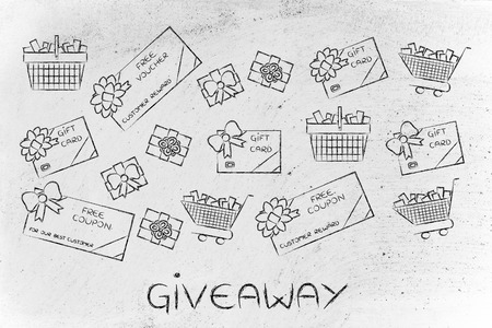 markdown: giveaway: set of mixed gift cards, shopping carts, coupons and vouchers