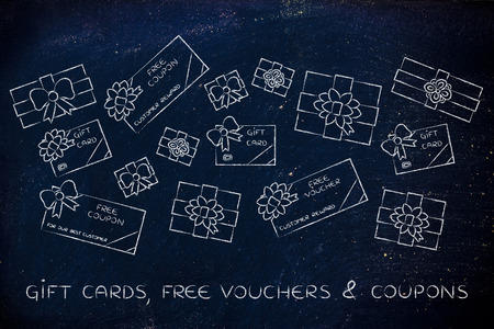 markdown: group of presents, gift card, free vouchers and coupon with wrapping bows