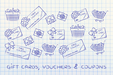 markdown: set of mixed gift cards, shopping carts, coupons and vouchers Stock Photo