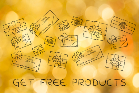 retailers: get free products: group of presents, gift card, free vouchers and coupons from retailers