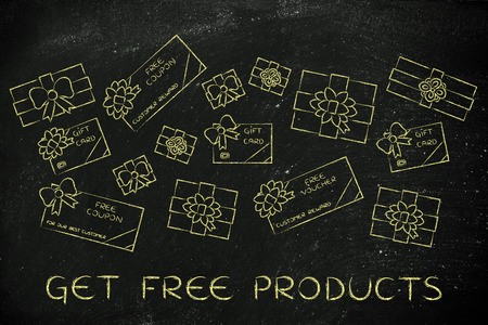markdown: get free products: group of presents, gift card, free vouchers and coupons from retailers