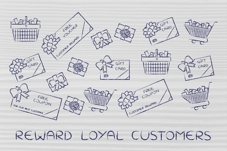 markdown: reward loyal customers: set of mixed gift cards, shopping carts, coupons and vouchers
