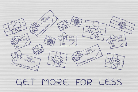 retailers: get more for less: group of presents, gift card, free vouchers and coupons from retailers Stock Photo
