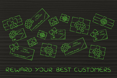 retailers: reward your best customers: group of presents, gift card, free vouchers and coupons from retailers Stock Photo