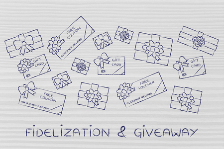retailers: fidelization & giveaway: group of presents, gift card, free vouchers and coupons from retailers